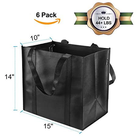 Reusable Grocery Tote Bags (6 Pack, Black) - Hold 44+ lbs - Large & Durable, Heavy Duty Shopping Totes - Grocery Bag with Reinforced Handles, Thick ...