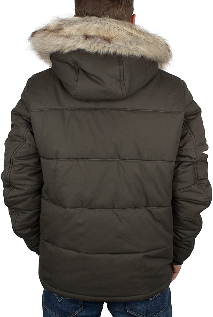 G-Star Raw Mens Whistler Hooded Jacket with Faux Fur Trim