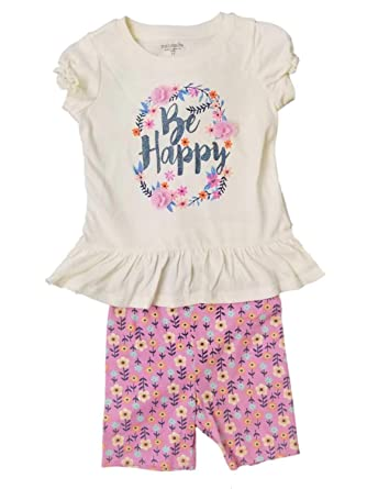 f23f10e96 Infant & Toddler Girls Baby Be Happy Pink Glitter Shirt Flower Short Outfit  3T