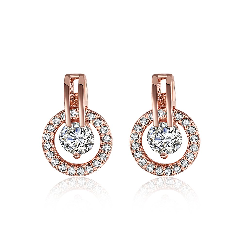 Luxury Royal Shining Round Circle Cubic Zirocn Inlay Big CZ Stud Earring For Women Girl Bridal Wedidng Jewelry Birthday Gift