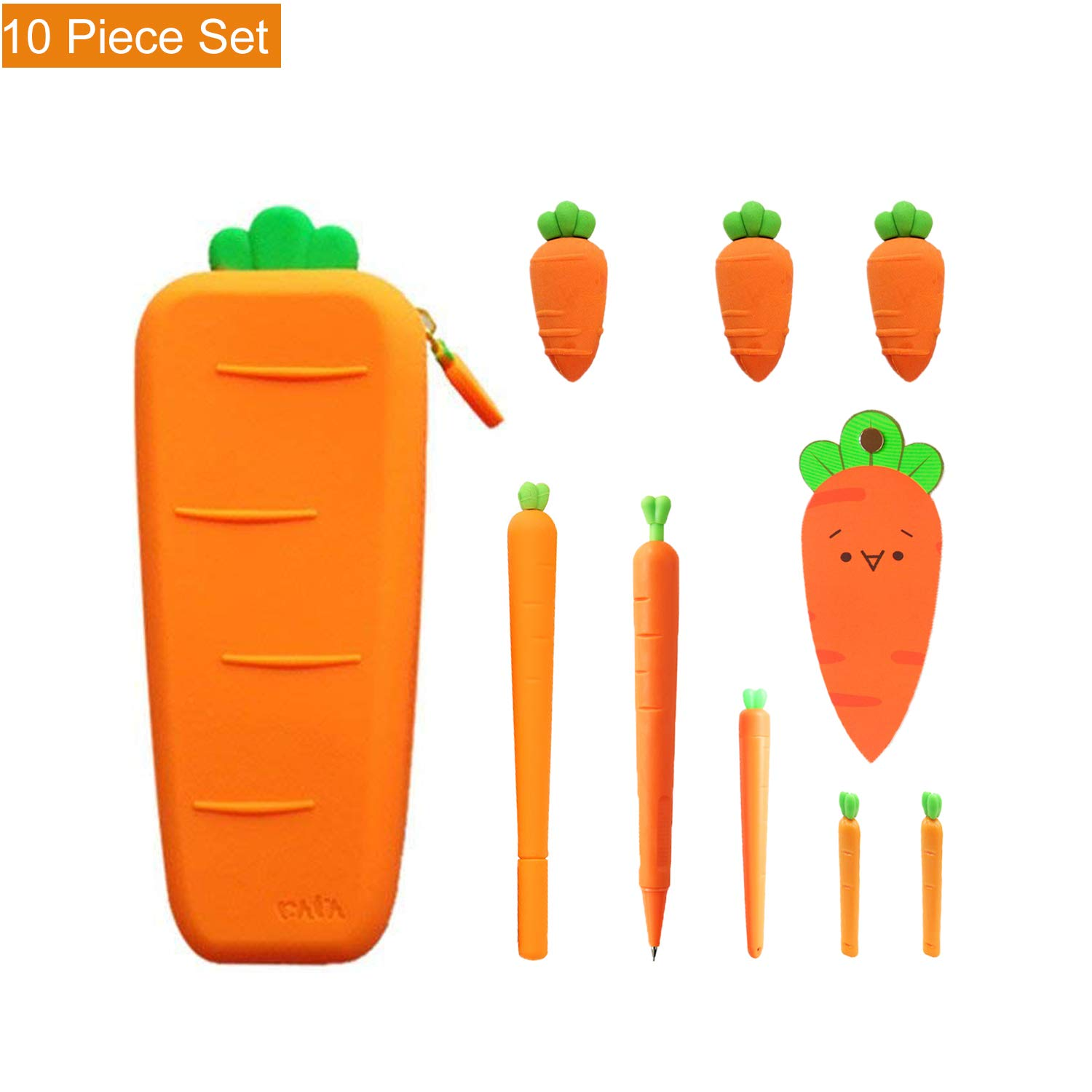Cute Carrot Pencil Case Set - Pack of 10pcs,Large Capacity Soft Silicone Carrot Pen Pouch,Gel Ink Pen,Mechanical Pencil,Eraser,Lead Refills for Cute School Supplies/Stationery Kids Students Waterproof