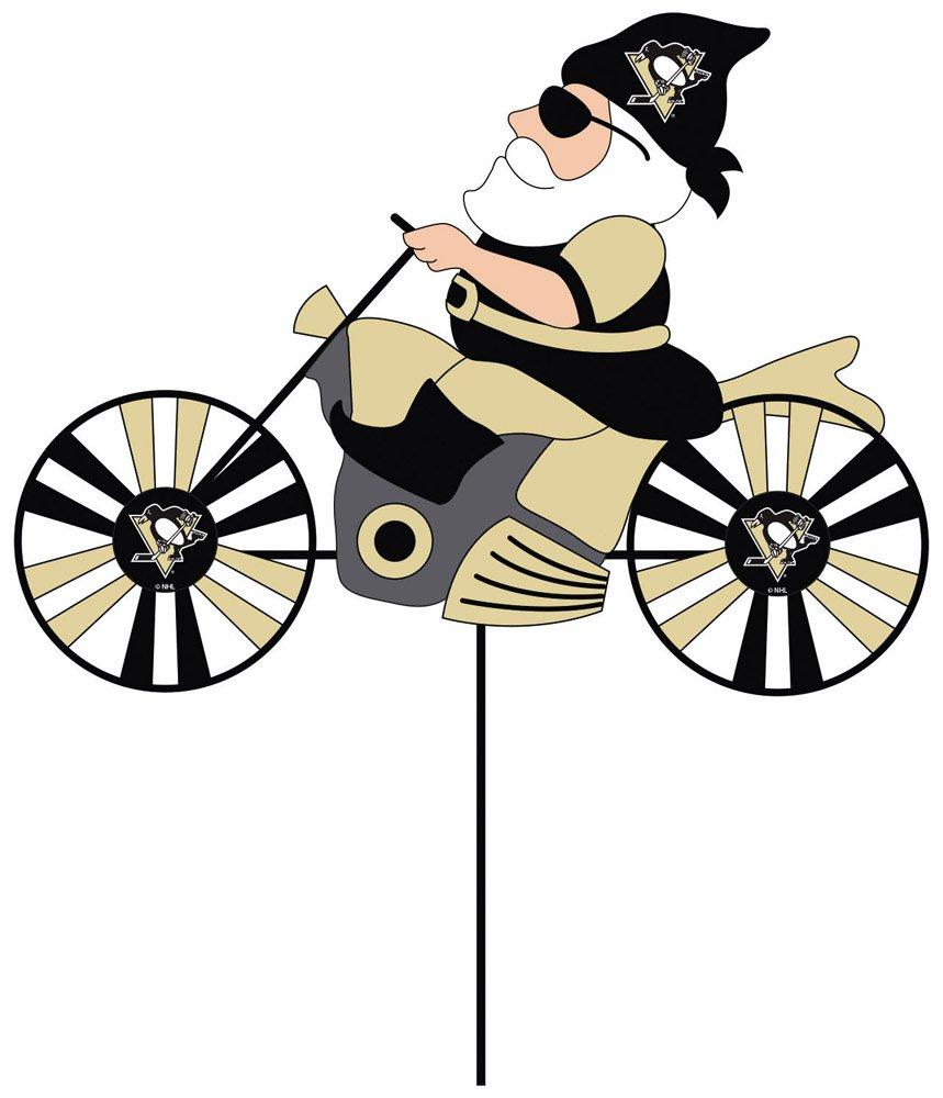 Pittsburgh Penguins Motorcycle Riding Garden Gnome Wind Spinner Evergreen Enterprises 45M4372