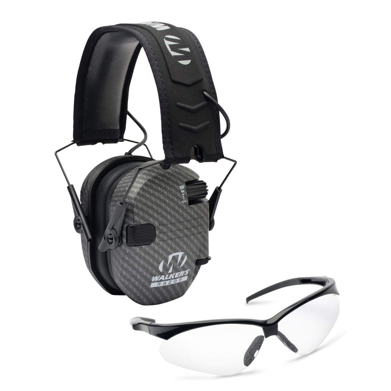 Walkers Razor Slim Electronic Hearing Protection Muffs with Sound Amplification and Suppression and Shooting Glasses Kit, Carbon by Walkers (Image #1)