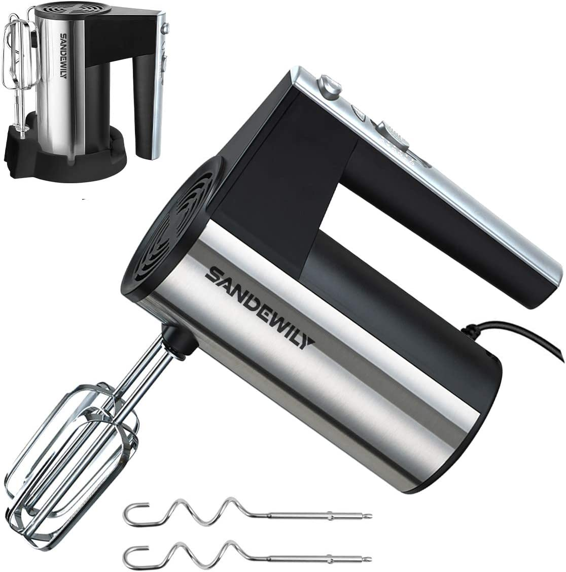Hand mixer Electric,5 Speed 300W Ultra Power Kitchen Handheld Mixer with Storage Case and 4 Stainless Steel Accessories,Whipping Mixing Cookies, Brownies, Cakes, Dough, Batters, Meringues