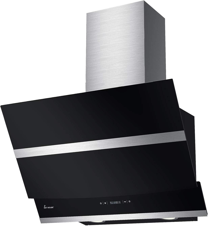 KKT KOLBE campana de cocina/campana de pared / 60cm / acero inoxidable/vidrio negro/iluminación LED/botones de sensor/apagado automático / HERMES606S: Amazon.es: Grandes electrodomésticos