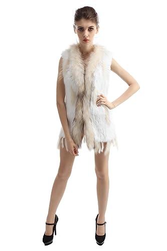 Abrigo tejido y largo de la piel de conejo auténtico para mujer con ribete de la piel de mapache