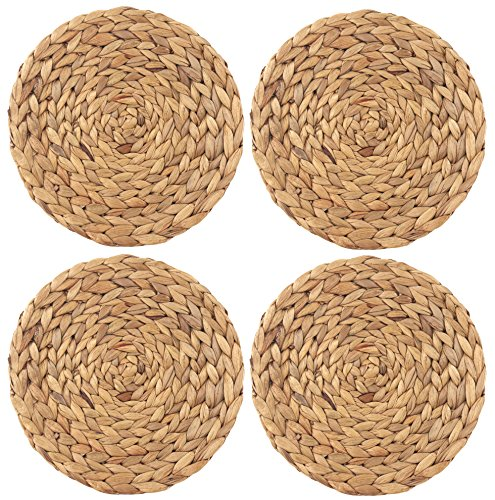 wellhouse Natural Handmade Straw Woven Placemat Wooden Round Braided Mat Heat Resistant Hot Insulation Anti-Skidding Pad Water Hyacinth Placemats (11.8Inch, Grass mat-4 Pack)