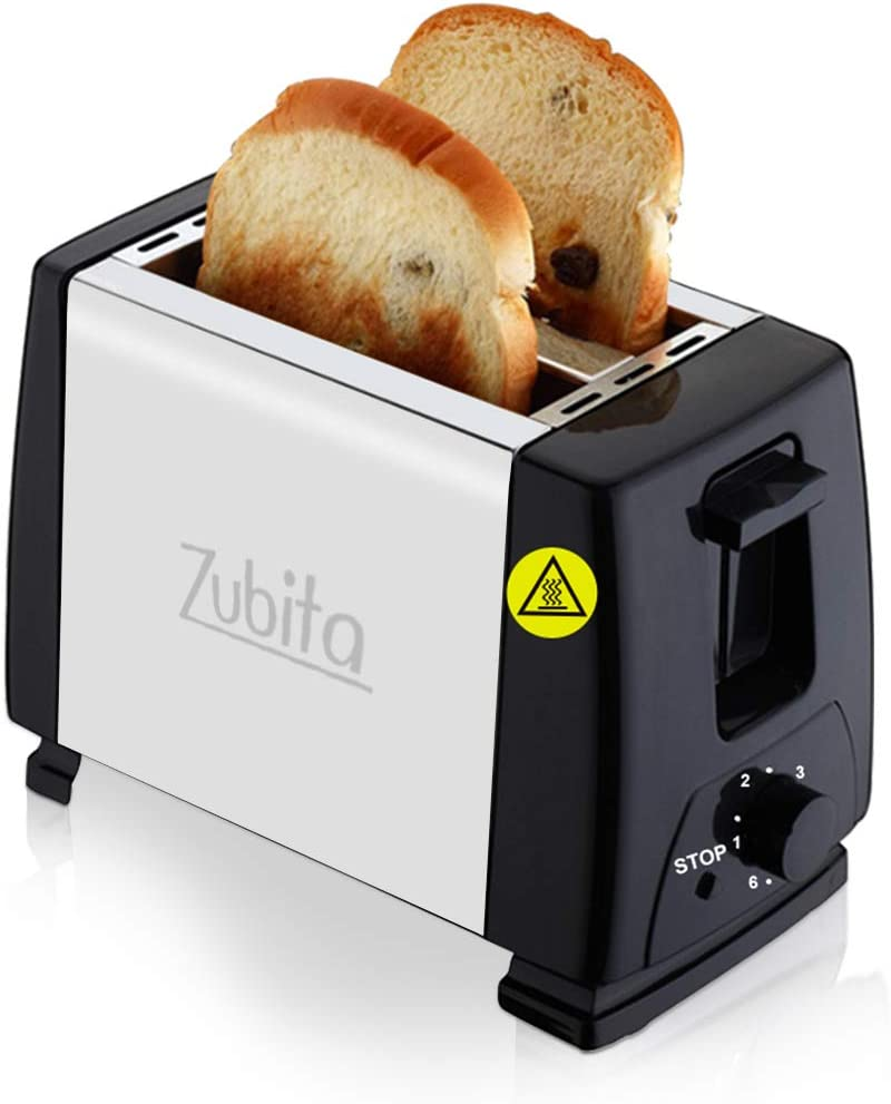 Zubita 2-Slice Toaster with Defrost/Reheat, Auto Shut-Off, 6 Variable Browning Settings with Extra Wide Slots, Stainless Steel, 750W