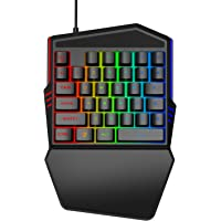 Goodstuffshop One-Handed Mechanical Gaming Keyboard, Small Gaming Keyboard Feel Wide Hand Rest with 35 Keys, RGB LED…