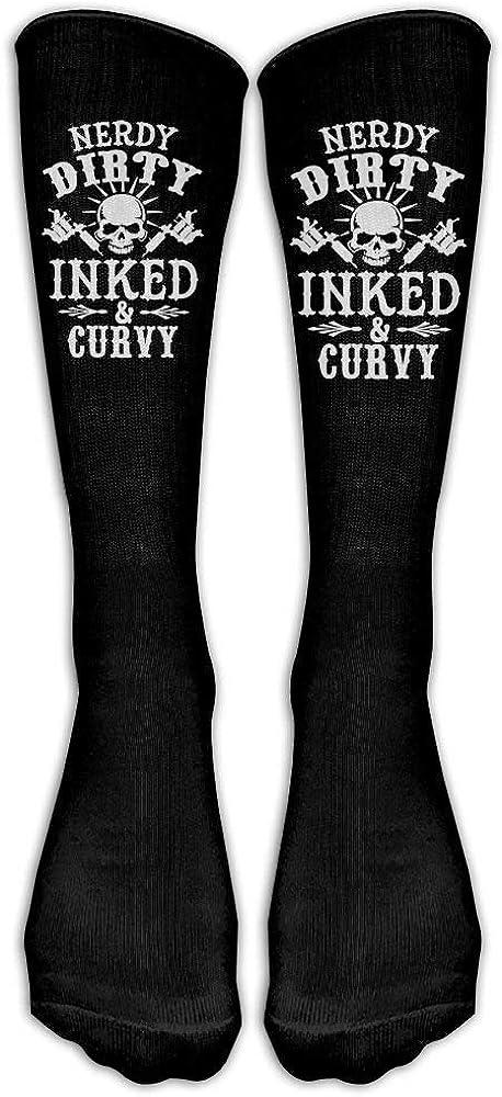 Nerdy Dirty Inked and Curvy Classics Calcetines altos hasta la rodilla con gráficos Calcetines para correr para hombre y mujer