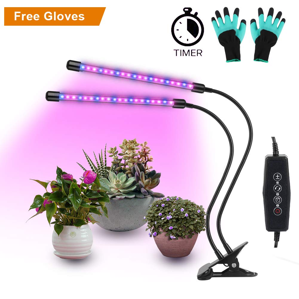 LED Plant Lights for indoor plants,20W Plant Grow Lamps,40 LED Lamp Beads(14 Red,26 Blue),Dimmable 6 Levels,Dual Head Plant Lamp with 360⁰ Flexible Rotation,3 Modes Timer(3H/6H/12H),for Plants from Germination,Seedlings,Flowering to Fruiting MFN-300102