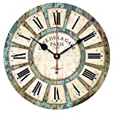 XINHOME 12-inch Vintage Wood Clock, Roman Numerals France Paris Rusted Metal Look French Country Retro Style Non-Ticking Silent Quiet Wooden Wall Clock