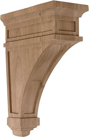 Rubber Wood Ekena Millwork BKT02X06X10STRW  2 1//4-Inch W by 6-Inch D by 10-Inch H Stockport Bracket