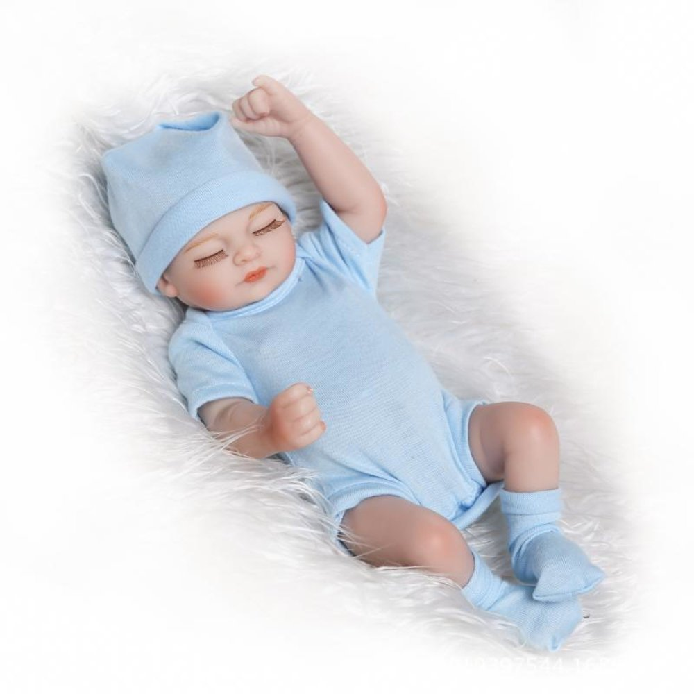 Handmade Real Like Silicone Full Body Reborn Baby Doll Newborn Lovely Sleeping Boy 11 inches Blue Outfit
