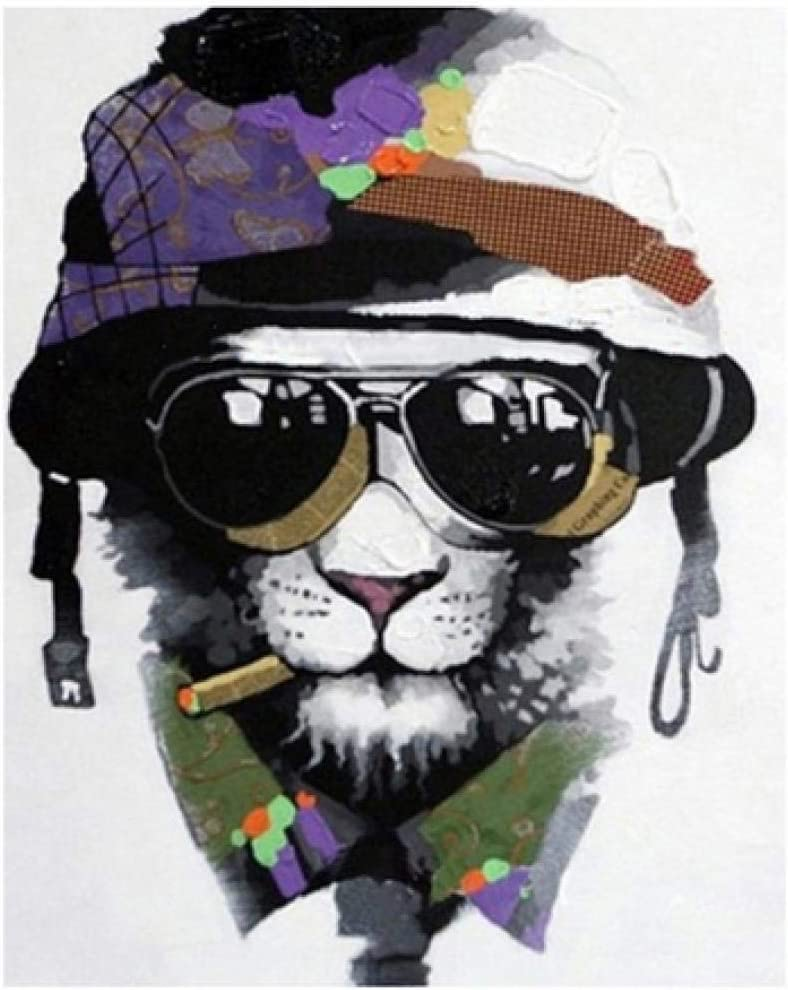 N//C Paint By Numbers Diy Acrylic Dog With Military Cap Digital Painting Canvas Kits Art Home Decoration-16*20 Inches Without Frame