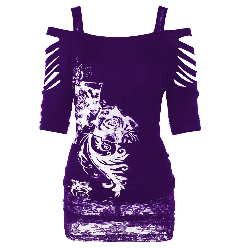 Pullover Sweaters for Women,Women's Activewear,Fashion Rock Gothic Casual Ripped Sling Blouse,Purple,XL