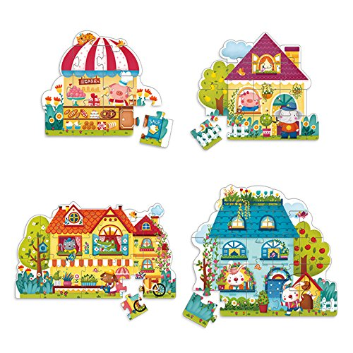 MiDeer Jigsaw Puzzle Four House Gift for Holiday Season-4 Box in 1 (Puzzle Box Plans)