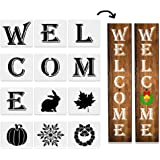 12Pcs Large Welcome Sign Stencil for Painting on Wood, Reusable Porch Sign and Front Door Vertical Welcome Stencil…