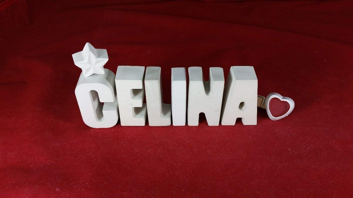 Geburtstag Steinguss Buchstaben 3D Deko Namen CELINA mit Stern und Herzklammer als Geschenk verpackt Beton Taufe Namenstag oder auch zu anderen Anl/ässen. Ein ausgefallenes Geschenk zur Geburt