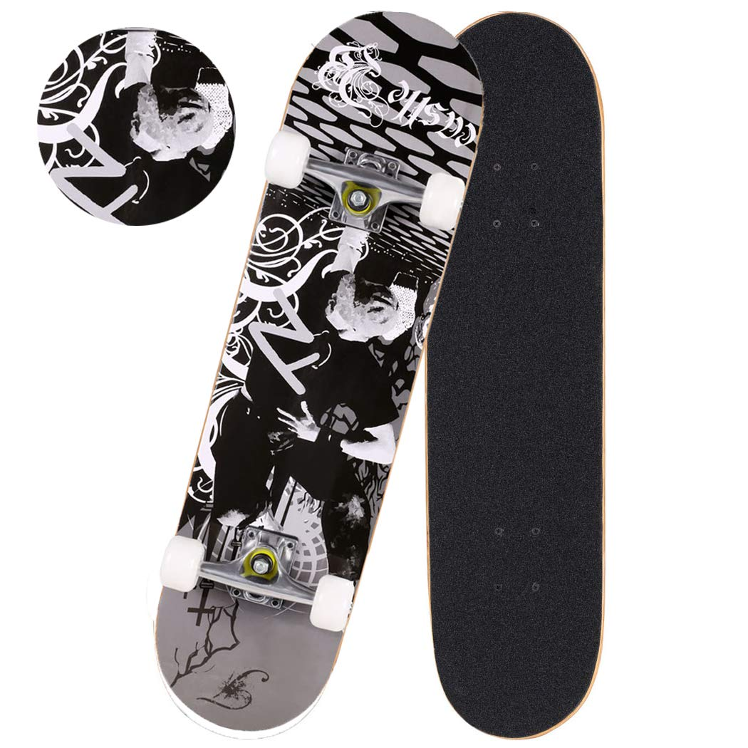 Anfan 31'' Pro Complete Skateboard, Adult Tricks Skate Board with 9 Layer Canadian Maple Wood, Double Kick Tail for Beginner Kids Boys Girls 5 Up Years Old (US Stock) (Black Pose)