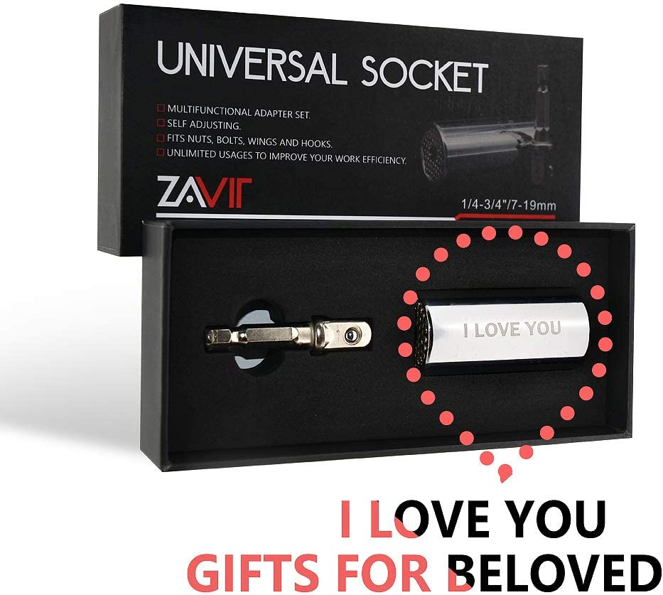 """Universal Socket,Engraved/""""I LOVE YOU/"""" Cool Birthday gifts for Husband,7-19mm Power Drill Manual Wrench Adapter Gifts for Husband Boyfriend Him Men Anniversary"""