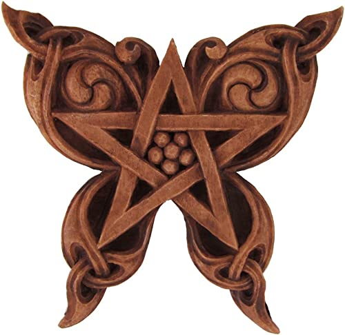 Dryad Design Butterfly Pentacle Wall Plaque Wood Finish