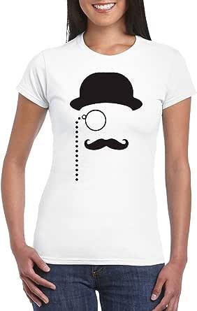 White Female Gildan Short Sleeve T-Shirt - Sir mustache design