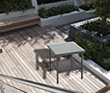Outdoor Wicker Rattan Side Table Patio Furniture Garden Deck Pool Glass Top Tea Table-Black