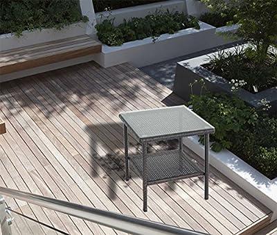 Outdoor Wicker Rattan Side Table Patio Furniture Garden Deck Pool Glass Top Tea Table-Black