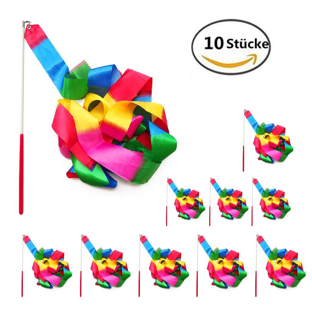 10 pezzi 2 metri Palestra Nastro per ginnastica ritmica e danza, Danza nastri di Ginnastica Ritmica Streamer Baton Twirling Rod seta Attrezzi de Bambini (varietà di colori) Ebeta