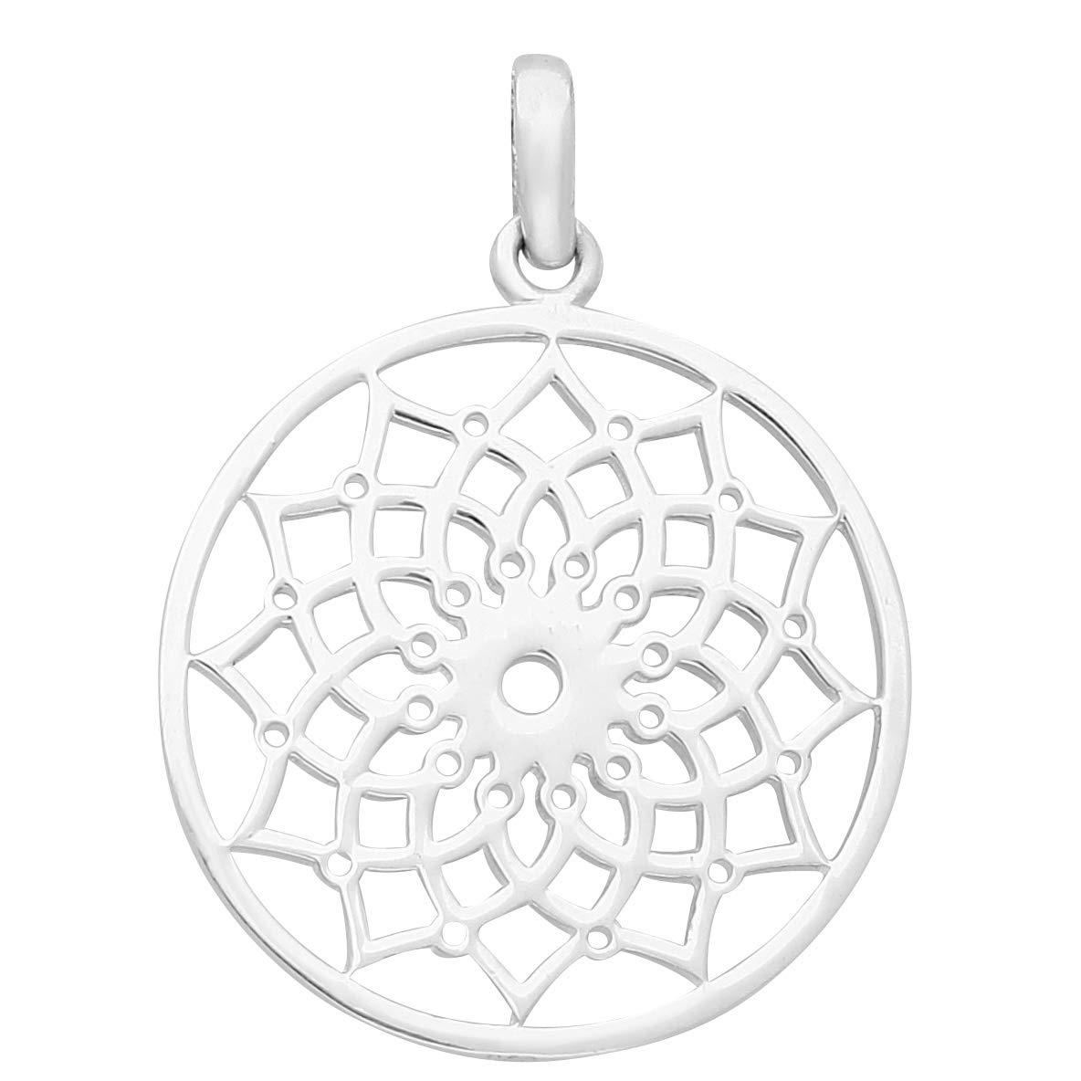 schmuxxi Blume des Lebens 925 Sterling Silber Anhänger für Damen Filigran Klassisch Flach Rund 25mm Silver 2013-6183