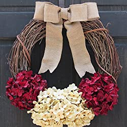 Rustic Valentines Day Grapevine Wreath / Front Door Decoration with Red & Cream Faux Hydrangeas