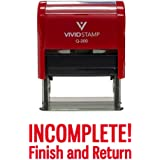 INCOMPLETE FINISH AND RETURN Teacher Self Inking Rubber Stamp (Red Ink) - Medium