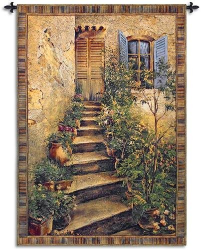 Italian Villa Tapestry - Tuscan Villa II by Roger Duvall | Woven Tapestry Wall Art Hanging | Rustic Italian Village Steps | 100% Cotton USA Size 75x53