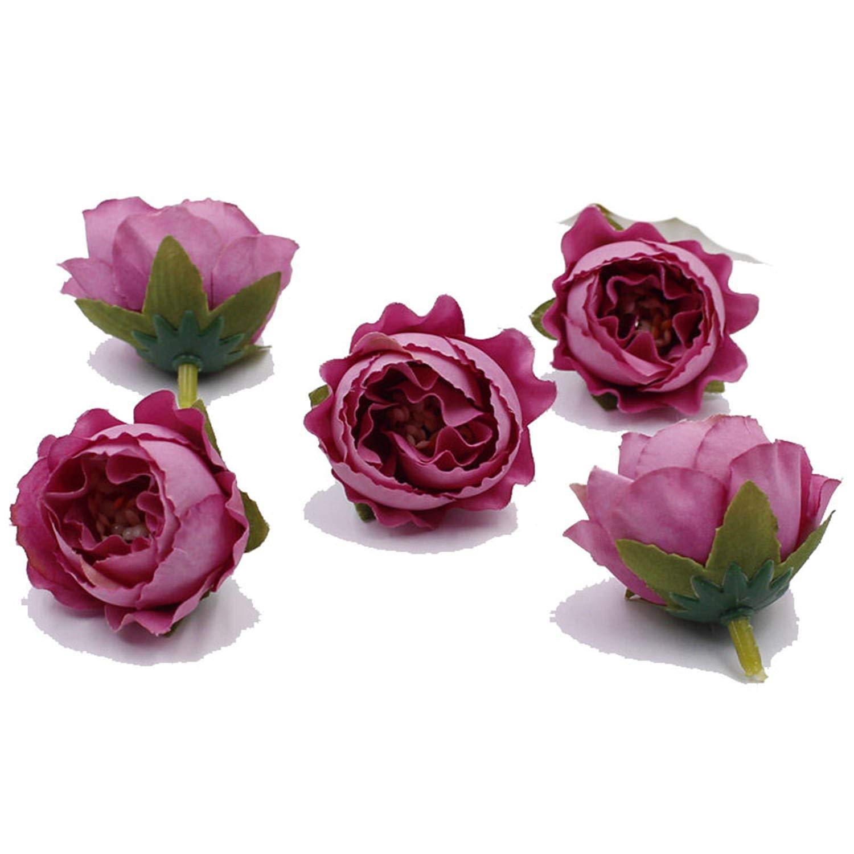 10ピース 5cm 牡丹の花 造花 シルクフラワー ウェディング装飾 DIYリース デコレーション フラワー フェイクフラワー レッド-パープル L B07PV9SRQT
