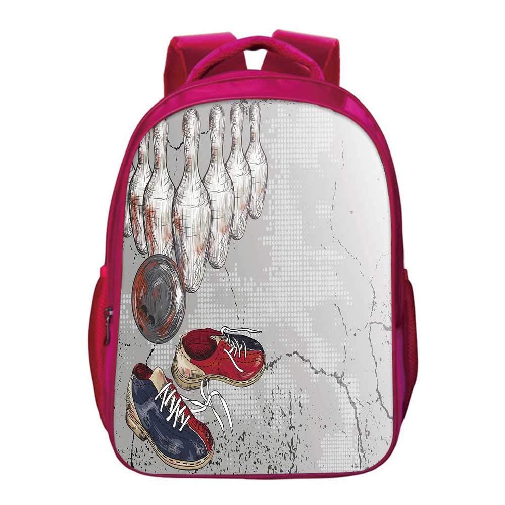 Bowling Party Decorations Lightweight School Bag,Bowling Shoes Pins and Ball Artistic Grunge Style Decorative for Kids Girls,11.8''Lx6.3''Wx15.7''H by YOLIYANA