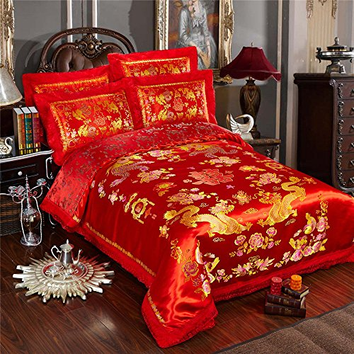 (HNNSI 4pcs Wedding Bedding Sets Queen Size, Chinese Dragon and Phoenix Satin Lace Duvet Cover Set with Cotton Flat Sheet, Quit/Comforter Cover Sets, RED Bedding Sets (Queen, style5))