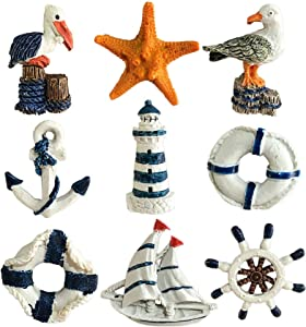 Nautical Fridge Magnet Set of 9, Home Decorative Refrigerator Decors, Summer Kitchen Restaurant Wall Decors Hanging Decorations, Beach Themed Starfish Boat Anchor Life Ring Ship Wheel Tower Ornaments