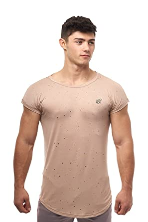 f39b35ac4 Jed North Ripped Capped Sleeve Tee Fitted T Shirt Drop Sleeve,Beige,Medium