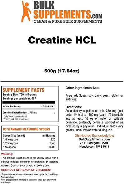 BulkSupplements Creatine HCL Powder 500 Grams