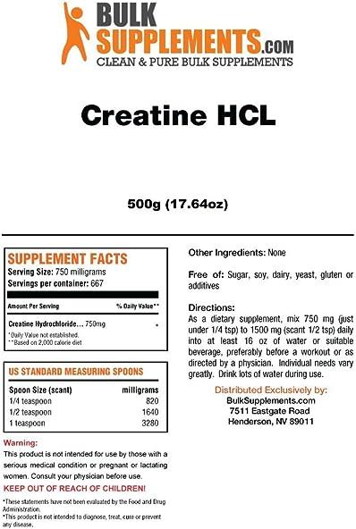 BulkSupplements Creatine HCL Powder 500 Grams