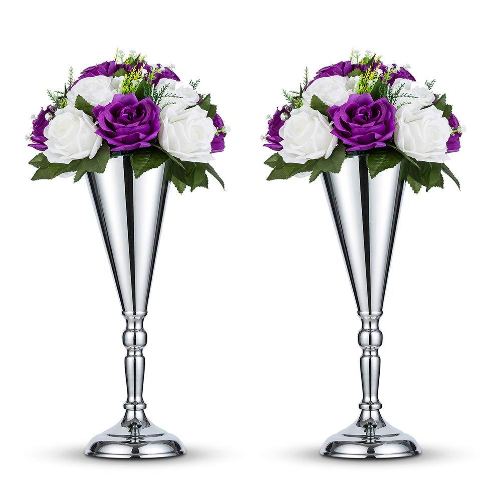 2 Pcs//Set Tabletop Metal Wedding Flower Trumpet Vase Table Decorative Centerpiece Artificial Flower Arrangements for Anniversary Ceremony Party Birthday Event Aisle Home Decoration