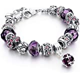 MYSTIQS Handmade Bracelet with Carved Plated Charms, Sparkly Murano Crystals & Snake Chain