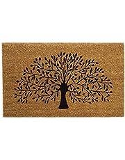 Felpudo para puerta grande, grueso y decorativo de fibra de coco estampado y diseños de la naturaleza, color negro