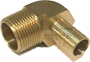 """EDGE INDUSTRIAL 5/8"""" Hose ID to 3/4"""" Male NPT MNPT 90 Degree Elbow Brass Fitting Fuel / AIR / Water / Oil / Gas / WOG (Qty 01)"""