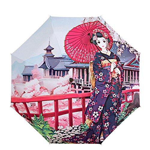TQ Cherry Blossom 3 Folding Parasol Sun Protection Anti-UV Umbrella For - Blossom In Canada Cherry