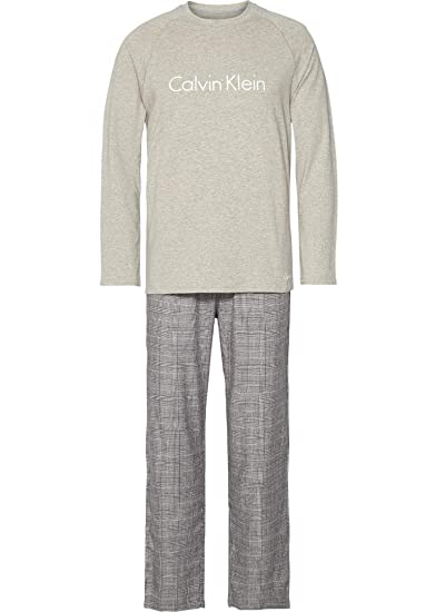 a4e3a2892058a Calvin Klein Holiday Flannel Pyjama Set - Grey Heather/Glen Charcoal  Heather M Grey Heather