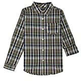 French Toast Big Boys' Long Sleeve Woven Yarn-Dye Shirt, Olive, 8