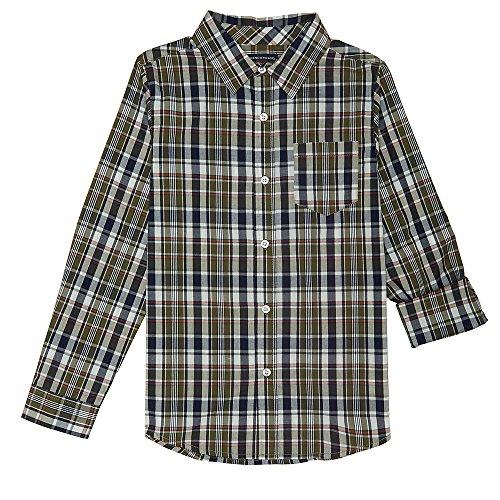 French Toast Big Boys' Long Sleeve Woven Yarn-Dye Shirt, Olive, 10 -