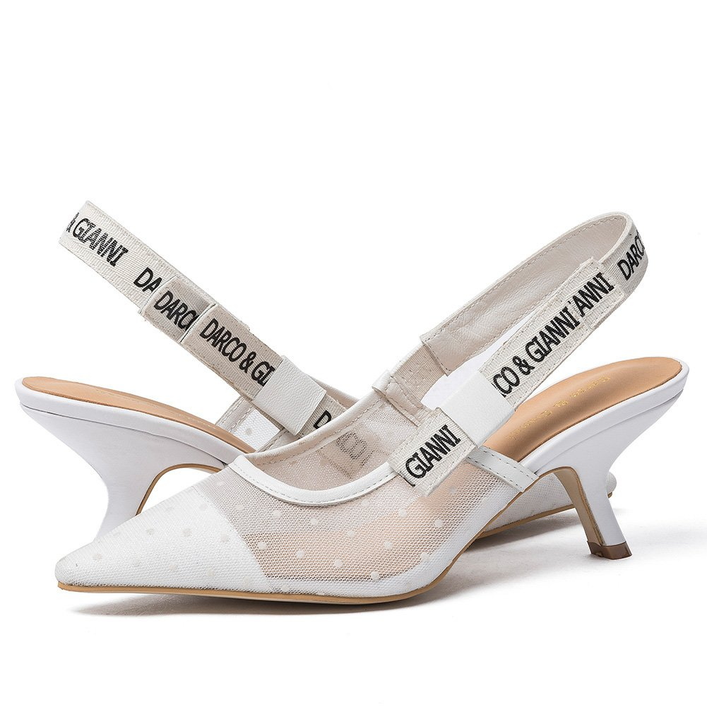 Darco & Gianni Women's Slingback Pump Shoe Dress Sandals Slip On Lace Mesh Pointed Toe Mid Kitten Flat Heel for Ladies Summer B07488XJJH 10 B(M) US|Mid Heel White